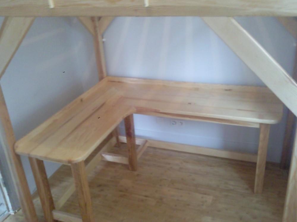 Lit bureaux mezzanine fr ne menuiserie fagot for Bureau en bois exotique